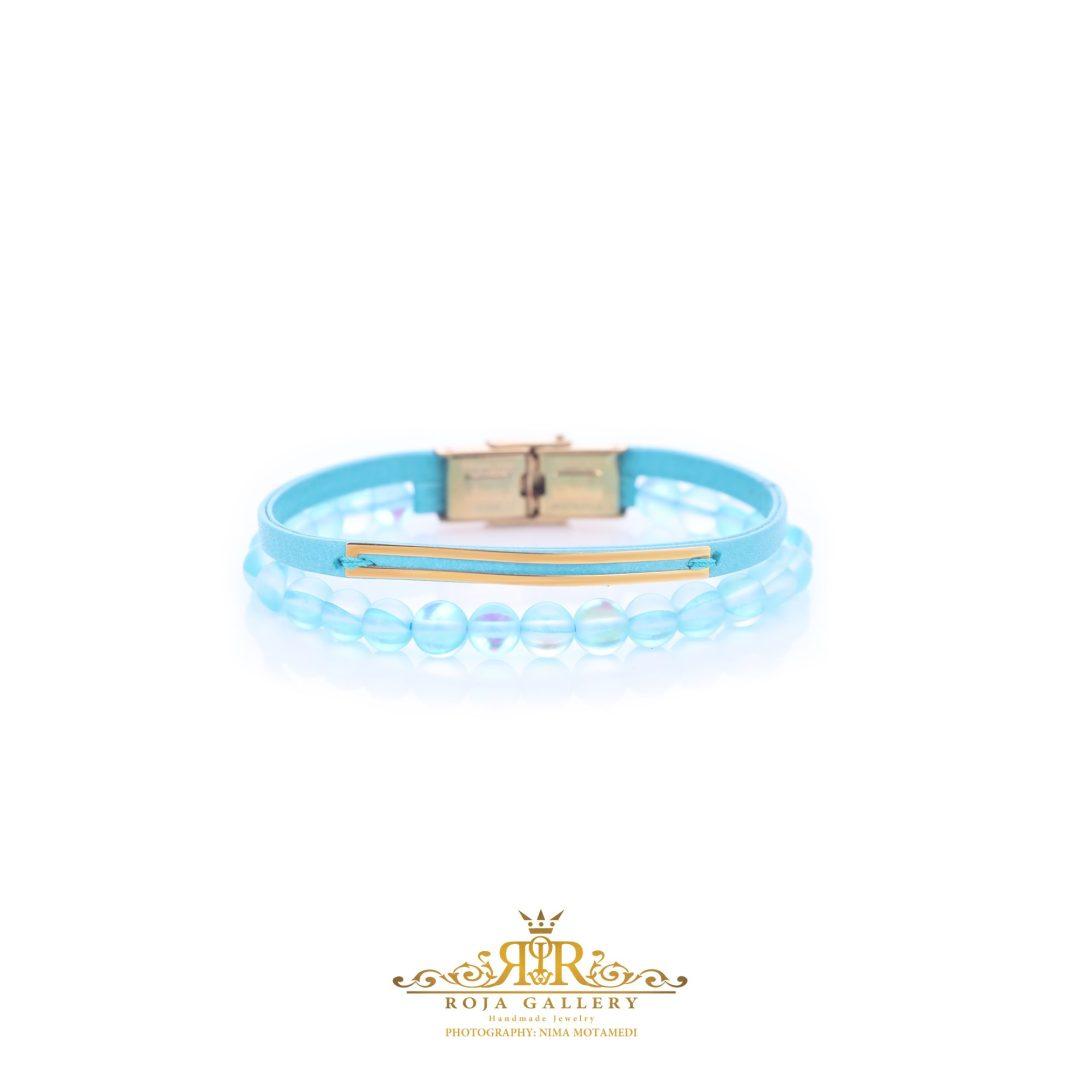 دستبند چرم و سنگ و طلا خطی - کد V109