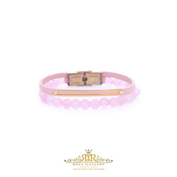 دستبند چرم و سنگ و طلا خطی - کد V110