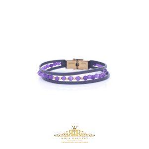 دستبند چرم و سنگ و طلا گوی البرناردو - کد V151