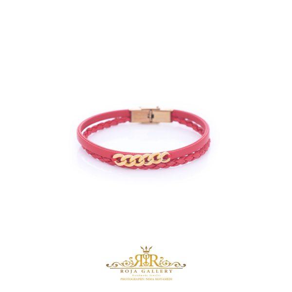 دستبند چرم و طلا کارتیه - کد V111