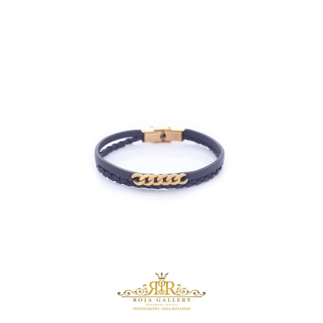 دستبند چرم و طلا کارتیه - کد V113