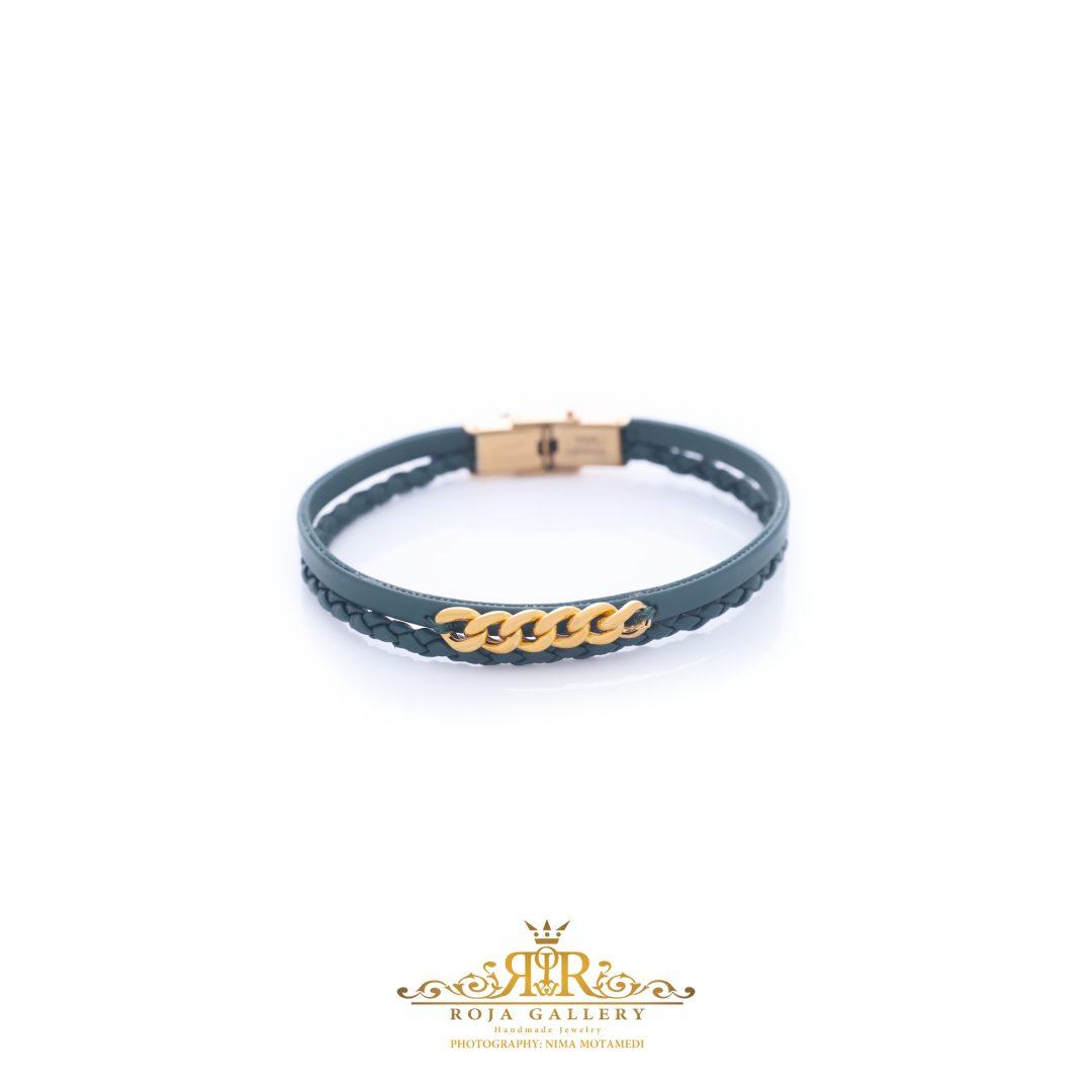 دستبند چرم و طلا کارتیه - کد V115
