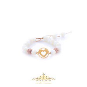 دستبند مهره و طلا طرح قلب و دایره - کد V116