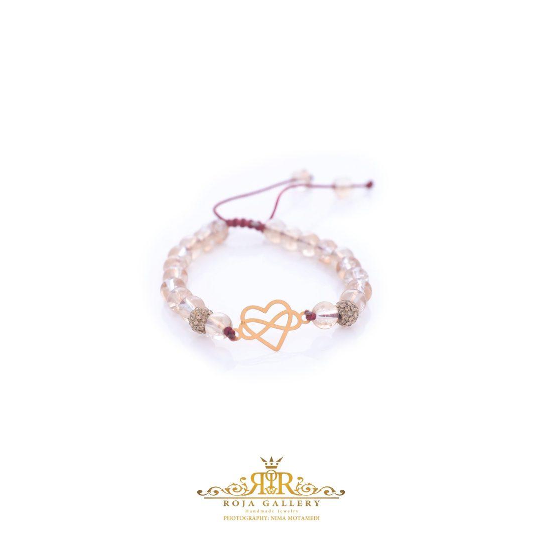 دستبند مهره و طلا طرح قلب و بی نهایت - کد V116
