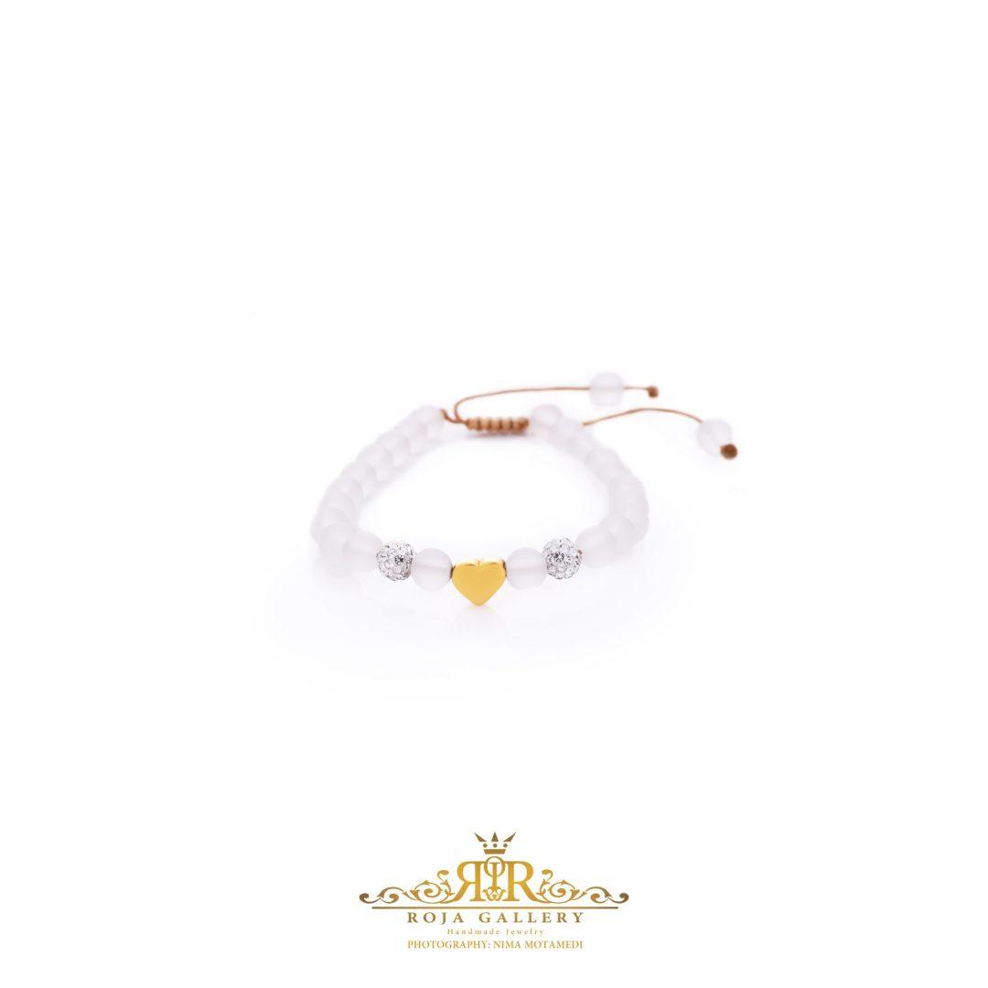 دستبند مهره و طلا طرح قلب - کد V118