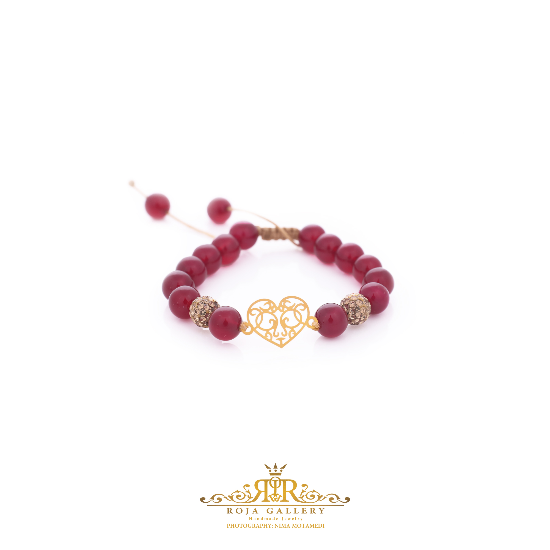 دستبند مهره و طلا طرح قلب - کد V119