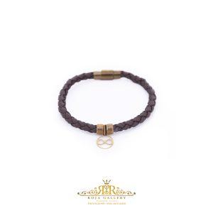 دستبند چرم و طلا طرح بی نهایت - کد V121