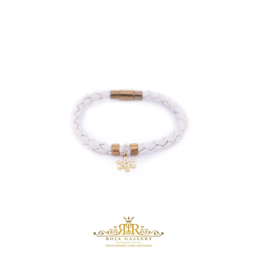 دستبند چرم و طلا طرح دانه برف - کد V122