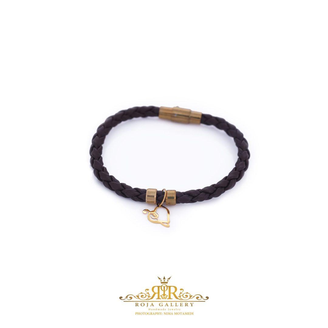 دستبند چرم و طلا طرح قلب و کلید سل - کد V123