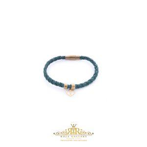 دستبند چرم و طلا طرح قلب و بی نهایت - کد V124