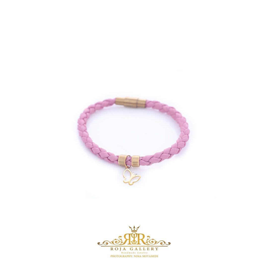 دستبند چرم و طلا طرح پروانه - کد V125
