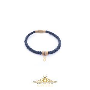 دستبند چرم و طلا طرح بی نهایت - کد V126