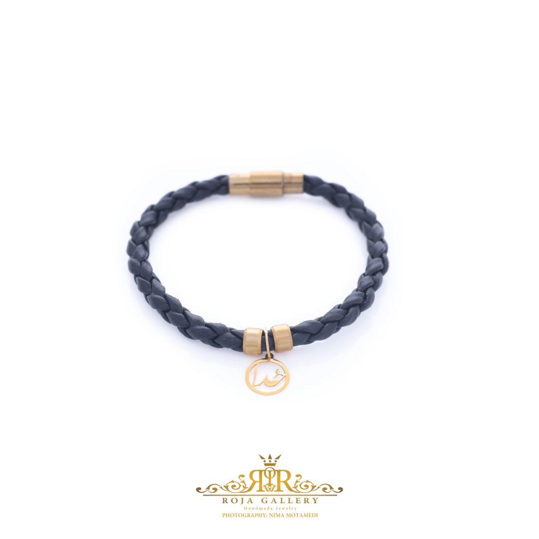 دستبند چرم و طلا زنانه طرح خدا