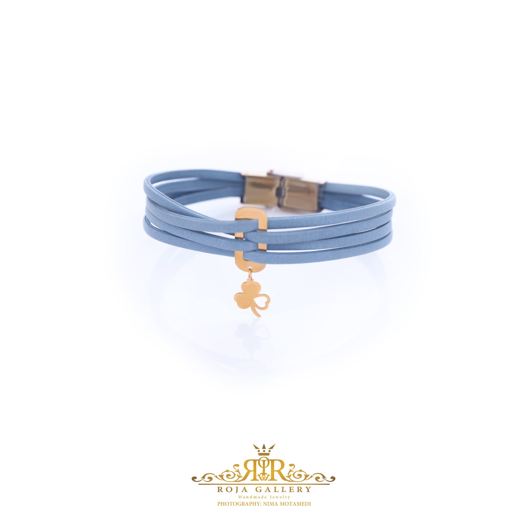 دستبند چرم و طلا طرح شبدر - کد V104