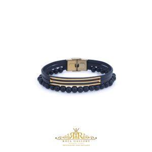 دستبند چرم و سنگ و طلا مردانه - کد VM155