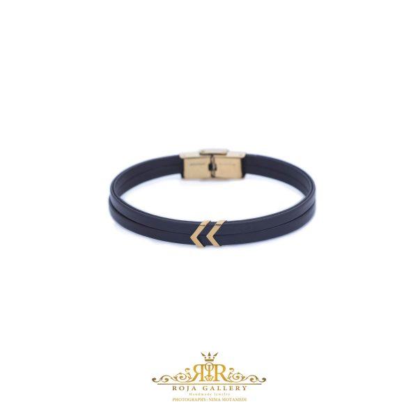 دستبند چرم و طلا مردانه - کد VM156
