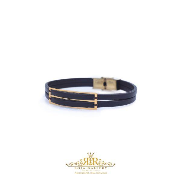 دستبند چرم و طلا مردانه - کد VM157