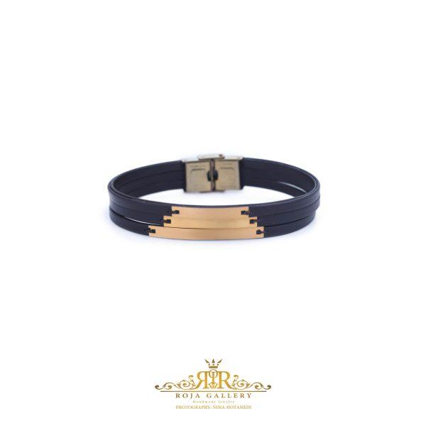 دستبند چرم و طلا مردانه - کد VM158