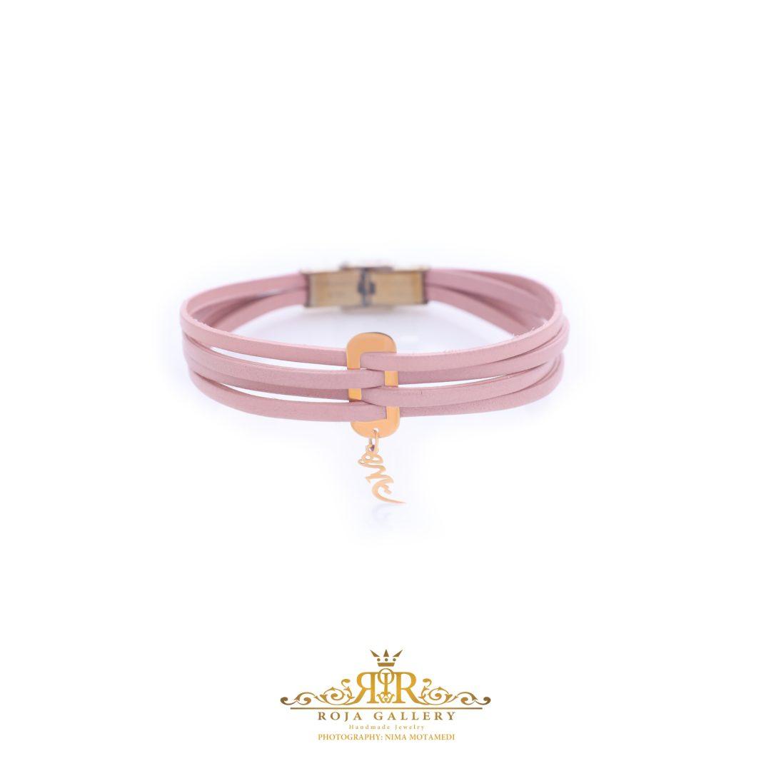 دستبند چرم و طلا طرح هیچ - کد V105