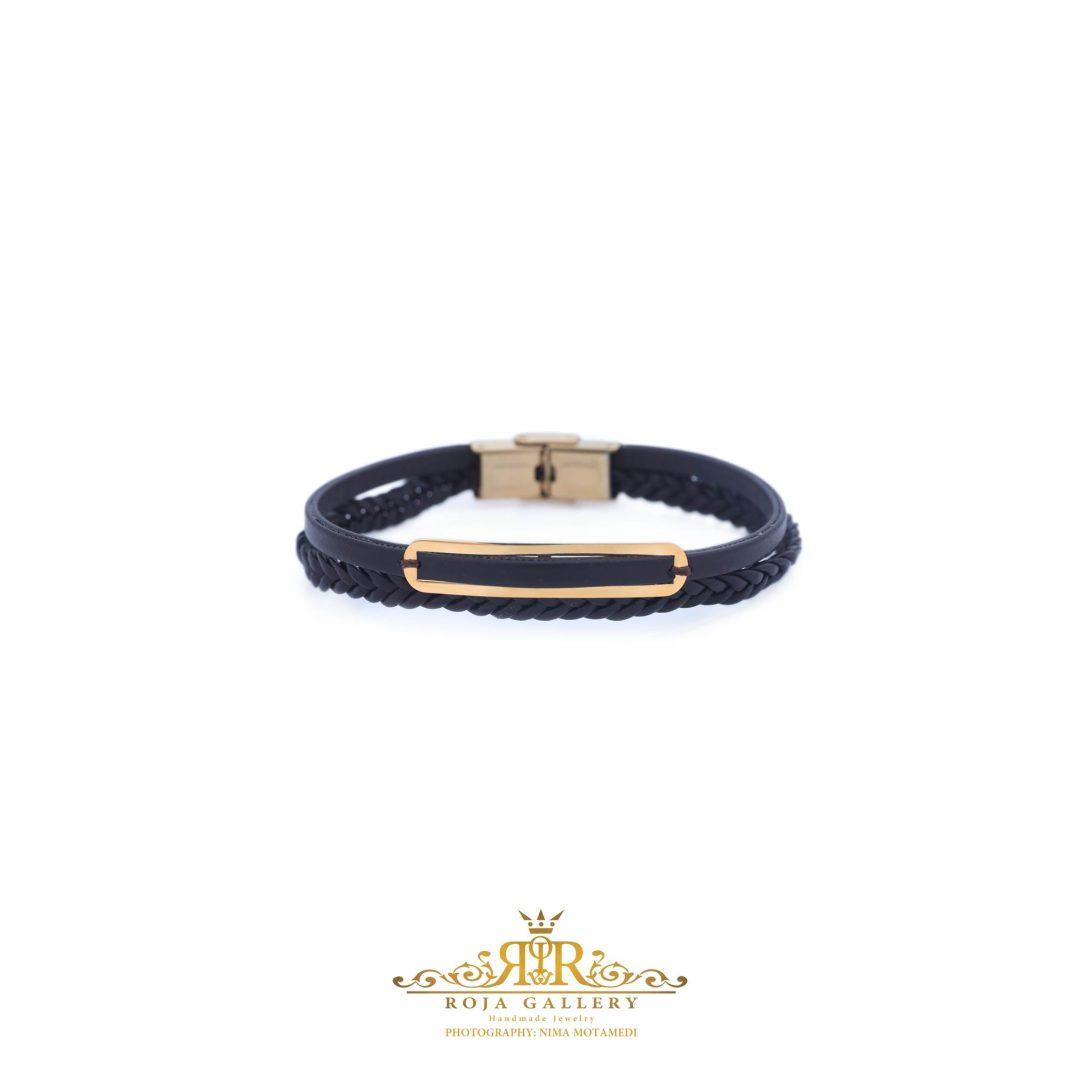 دستبند چرم و طلا مردانه - کد VM159