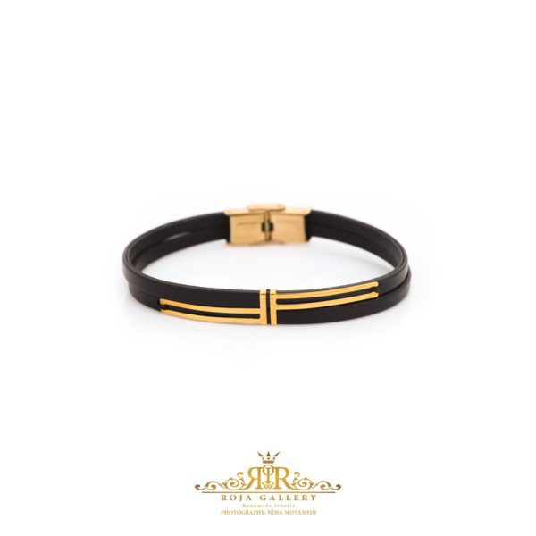 دستبند چرم و طلا مردانه - کد VM161