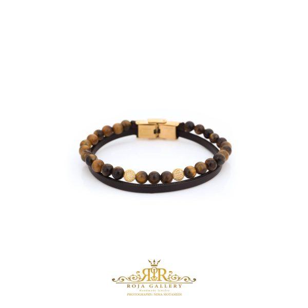 دستبند چرم و سنگ و طلا مردانه - کد VM164