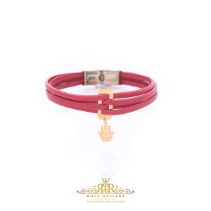 دستبند چرم و طلا همسا - کد V107