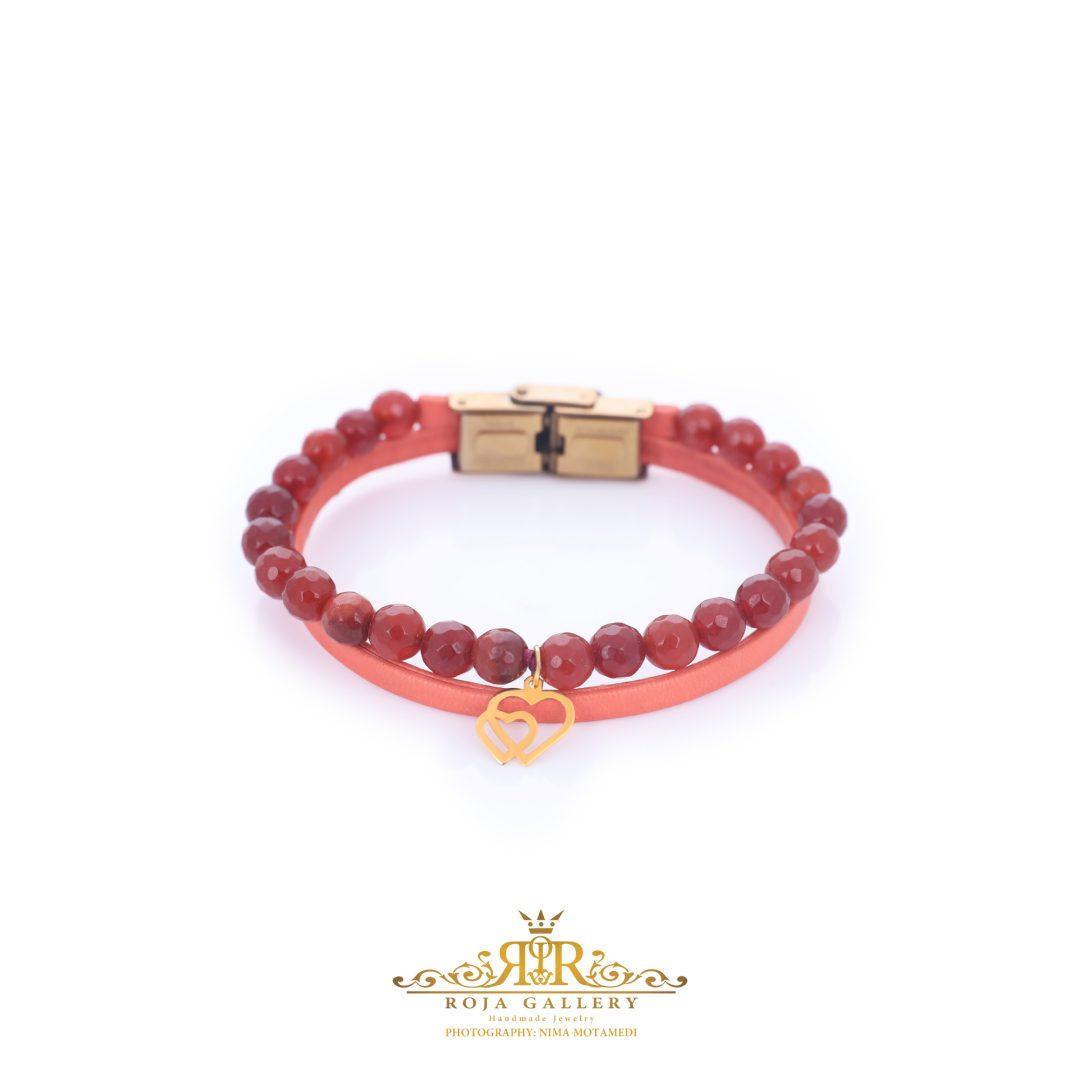 دستبند چرم و سنگ و طلا طرح قلب - کد V108